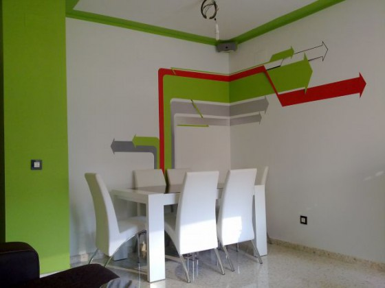 Decoraci n de pinturas en salones - Pintura pared salon ...