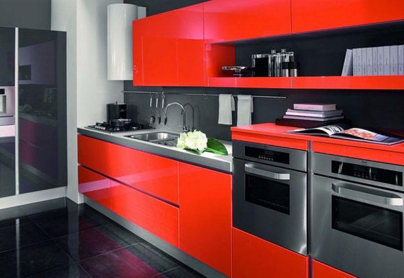 Decoraci n de cocinas rojas for Cocina roja y negra