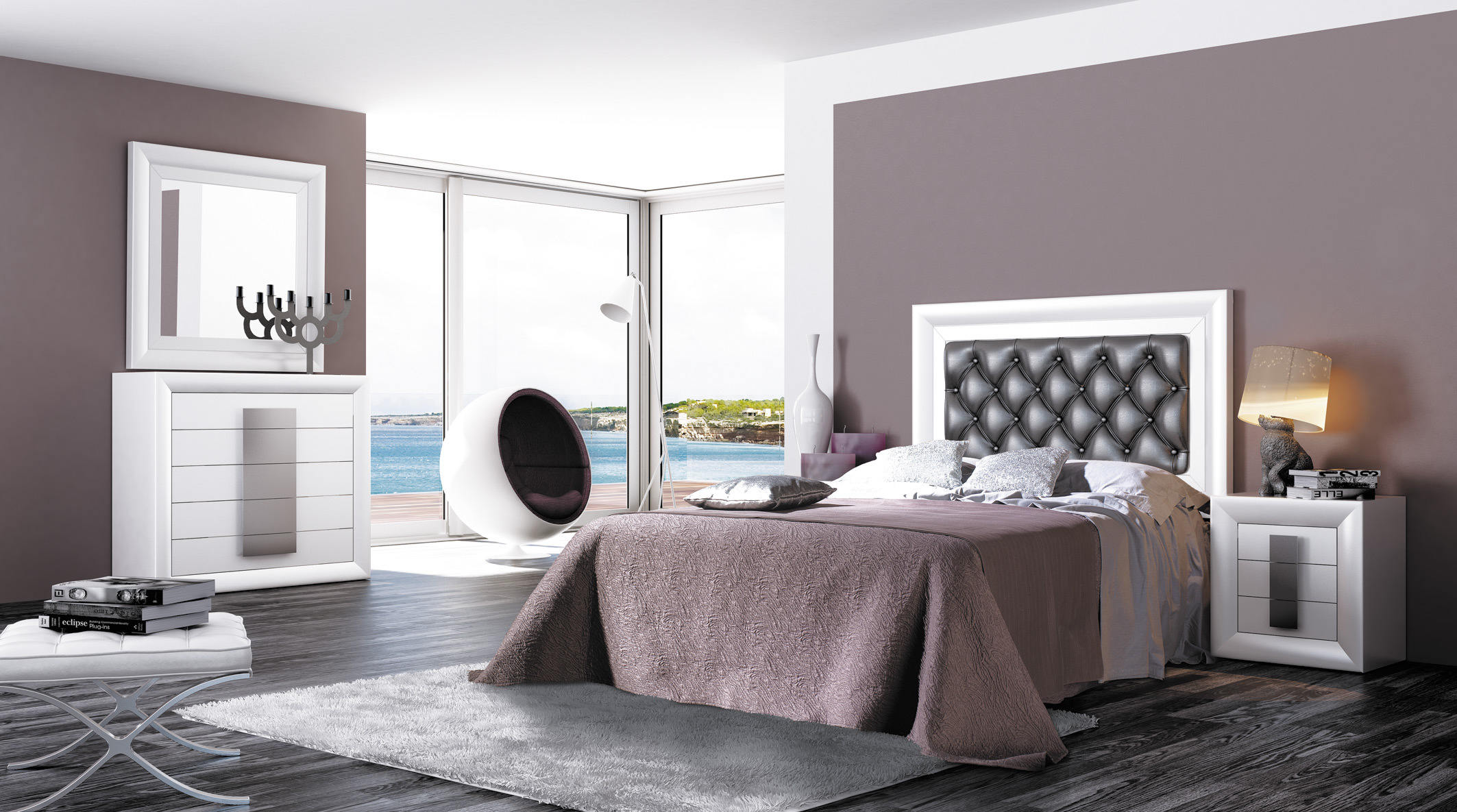 decoraci n de dormitorios de color plata. Black Bedroom Furniture Sets. Home Design Ideas