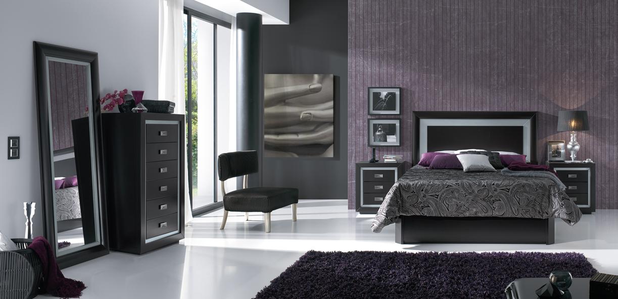 Decoraci n de dormitorios de color plata for Cuarto negro con gris